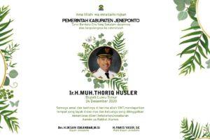 Bupati Jeneponto, Iksan Iskandar menyampaikan ucapan belasungkawa atas berpulangnya kerahmatullah Bupati Luwu Timur H.M. Thoriq Husler.
