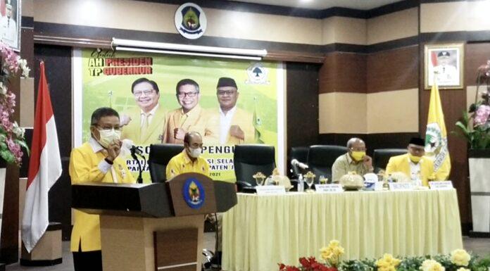 Konsolidasi Pengurus DPD Golkar Jeneponto, Taufan Pawe : Kader Desa Harus Dapat Biaya Operasional